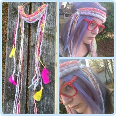 Pink knit headband with long ties by BeckyHomeckey on Etsy