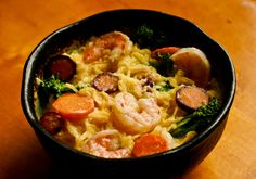 Spaghetti squash shrimp Alfredo... Will make a lightened up version, looks so good!