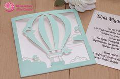 Convite de Batizado balão de ar quente em verde água