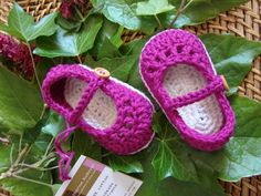 Baby booties mary jane blackcurrant and cream by Ohprettypretty