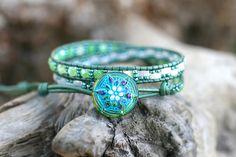 Green, Aqua Blue, Beaded Double Leather Wrap, Green Agate Stone, White Beaded Wrap Bracelet, Double Wrap Bracelet, Boho Wrap,2x Leather Wrap