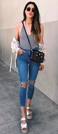 cool casual style outfit top   bg   ripped jeans The Best of styling tips in 2017.
