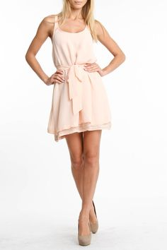 Rieley Embellished Hem Tank Dress In Peach - Beyond the Rack