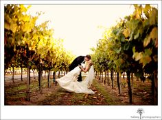 A romantic kiss in the vineyard