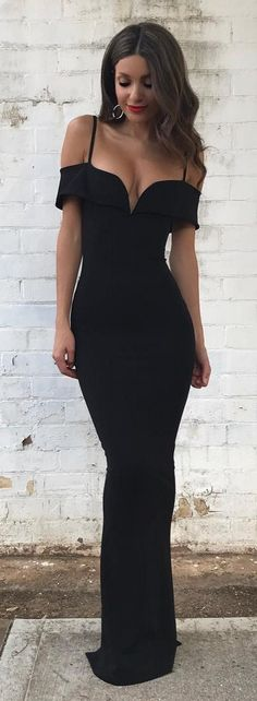 Black off the shoulder spaghettis straps mermaid prom dresses_formal dresses