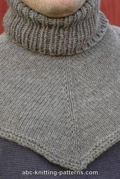 ABC Knitting Patterns - Biker's Cowl / Dickie Knitting Designs, Knitting Patterns Free, Knit Patterns, Free Knitting, Baby Knitting, Crochet Cowl Free Pattern, Knit Crochet, How To Purl Knit, Knit Cowl