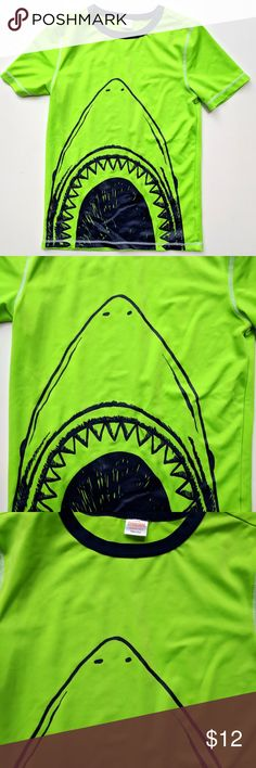 Gymboree Swim Rash Guard Shirt Top Neon Shark Gymboree Swim Rash Guard Shirt Top Neon Shark   Size L 10-12   VGUC   My items come from a smoke-free household, we do have a kitty, so an occasional hair may occur! Gymboree Swim Rashguards