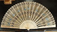Antique Early 19th Century Chinese Cow Bone Silk Lace Fan Hand Painted Bluebirds