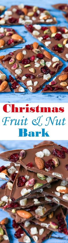 Chocolate Bark - A simple chocolate treat with nuts cranberries and crystallized ginger - perfect as a homemade Christmas gift or just to enjoy with a glass of wine! Christmas Food Gifts, Vegan Christmas, Homemade Christmas, Christmas Goodies, Christmas Candy, Merry Christmas, Fudge Recipes, Candy Recipes, Holiday Recipes