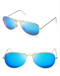 Ray-Ban New Aviator Mirrored Sunglasses, 59mm - Flash forward: Ray-Ban's latest aviators are bright on point with vibrant mirror lenses and downtown-cool frames.