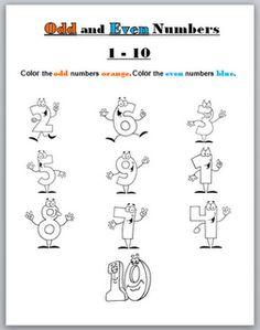 Odd and Even Printable Worksheet Freebie