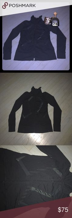 Vintage Lululemon Origami black pinstripe jacket Vintage Lululemon black pinstripe two way zip up jacket with two zip pockets. Coordinating pinstripe crop leggings for sale in another listing. lululemon athletica Tops Sweatshirts & Hoodies