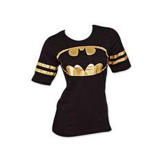 Batman Foil Print Women's Tee (€21) ❤ liked on Polyvore featuring tops, t-shirts, batman, shirts, t shirt, shirt tops, purple top, purple tee and tee-shirt