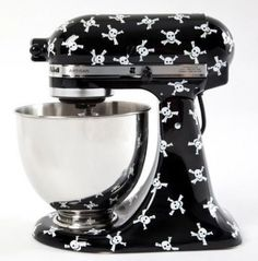 These stand-mixer decals would be the perfect thing to impress your guests. If you've got a KitchenAid stand mixer, you've got to get one of these decals. So dress your mixer up with these cool patterns or cooking words. Casa Rock, Josie Loves, Kitchenaid Stand Mixer, Skull Decor, Gothic Home Decor, Victorian Decor, Gothic House, Woman Standing, Skull And Crossbones