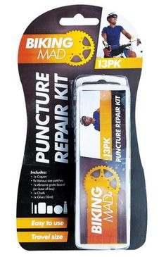 13 pack Cycle Puncture Repair Kit 1 Crayon, 9 Various size patches, 1 Abrasive grate board, 1 Chalk, 1 Glue