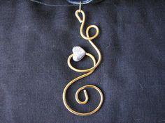 Gold  wire pendant by KatKeRosCorner on Etsy, $20.00