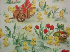 Colorful chicks n eggs vintage easter by holidaykitschklatsch vintage easter wrapping paper negle Choice Image