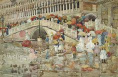 モーリス・プレンダーガスト - 雨の中の傘 (1899)