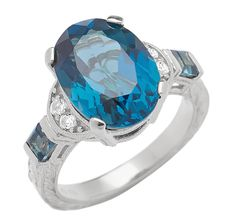 Generations 1912 14x12mm Oval London Blue Topaz & White Sapphire Engraved Detail Ring