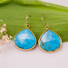Turquoise Drop Earrings  December Birthstone Jewelry Gold Earrings #turquoise #turquoiseEarrings #turquoiseWedding $68.00