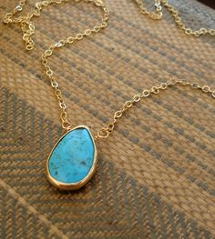 Gold Rimmed Turquoise Pear Briolette Necklace by Lanyapi