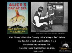 "Disney's first Alice Comedy ""Alice's Day at Sea"" a silent film debuts in a handful of east coast theaters. It is a live-action and animated film featuring young Virginia Davis as Alice. DID YOU KNOW: This was created by Walt Disney himself with help from his brother Roy and according to the Guinness Book Of World Records, the poster for this film was sold for $36,534 at Christies auction, the Most Valuable Cartoon Poster of all time."