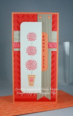 handmade birthday card ... tall and narrow format perfect to show off Vertical Greetings ... by Cindy Major ... warm coral tones ... Stampin' Up!