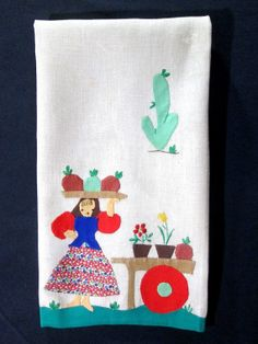 Vintage Tea Towel Applique Embroidery Woman and by VintageLinens