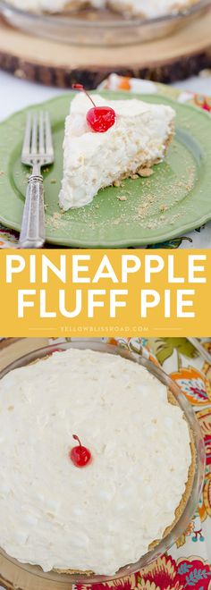 "This Pineapple Fluff Pie is perfect for National Pie Day! It's got a crunchy, buttery graham cracker crust with a creamy pineapple filling! I think I should have titled this post ""The Little Pie That Could,"" because it took me three tries to get it just right. I was so in love with the idea …"