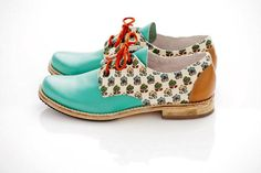 Turquoise Nutella Oxfords US 9 size by Pleasemachine on Etsy, €103.00