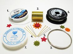 Materiales de Bisutería para ensartar pepas o cuentas:1)guaya,2)alambre,3)alambre con memoria,4)alfileres.5)alfileres de argolla(de ojo),6)nylon,7)hilo elástico