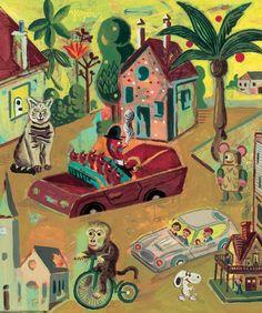 """kickcanandconkers: ATAK - """"Comment la mort est revenue à la vie"""", 2007, éditions Thierry Magnier Look at all the other illustrations - gorgeous work via Irtroit."""