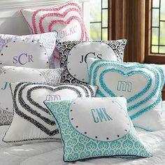 Dorm Monogram Pillow Cover #potterybarnteen  18x18 Ruffle Mini Dot Black  $39.00