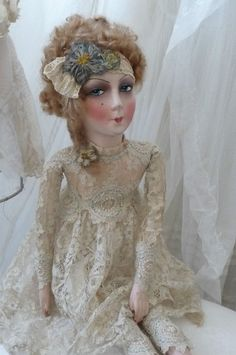 . A VERY LOVELY BOUDOIR DOLL, EDWARDIAN CLOTHES. SHE IS AN AUTHENTIC BOUDOIR DOLL, IN GOOD CONDITION FOR THE. AGE C 1920. HER FACE IS IN SILK PAINTED, MOHAIR HAIR ,CLOTHES ARE.FINES DETAILS MARVELOUS FINE WORK. | eBay!