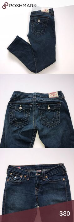 "True religion straight jeans Great condition. Straight leg jeans. Inseam-29"". Not very much stretch, fit more like a 29"". True Religion Jeans Straight Leg"