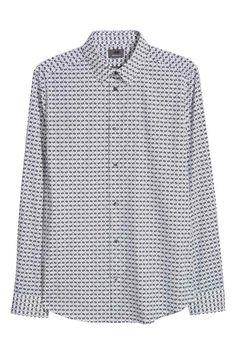 4280b5e9854f Košeľa z bavlny premium - biela čierna vzorovaná - MUŽI