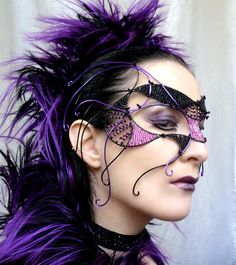 Cyber goth masquerade mask, purple, black,  handmade. $350.00, via Etsy.