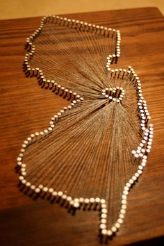 New Jersey Love // Reclaimed Wood Nail and String Art by cwrought, $110.00