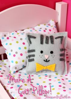 What a cute diy idea to make for your American Girl Doll bed! How To Make A Cat Pillow For Dolls! (Click through for tutorial)