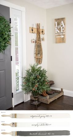 New England Farmhouse Neutral Paint Color Scheme Foyer Painted Benjamin Moore Edgecomb Gray Bedroom Paint Colors, Paint Colors For Living Room, Paint Colors For Home, House Colors, Foyer Paint Colors, Farmhouse Paint Colors, White Living Room Paint, Cabin Paint Colors, Basement Wall Colors