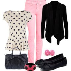 """""""Pink & Dots"""" - Ted Baker dulcet ribbed cardigan, $75. Dorothy Perkins ivory spotty peplum top, $39. JBRAND denim neon pink mid-rise skinny jeans, $83. Rocket Dog mighty flat shoe, $47."""