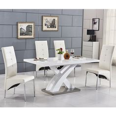 Axara extending small dining table in white high gloss with 6 vesta white dining chairs - 29978 buy wooden dining table and 6 chairs at furniture in fashion. Shop from an extensive range of. Cream Dining Chairs, Glass Top Dining Table, White Dining Chairs, Dining Room Chairs, White Tables, Black Chairs, Kitchen Tables, Small Dining Sets, Wooden Dining Set
