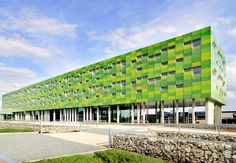 The Belgian utility provider Infrax has built an innovative office space that is every bit as green as its brilliantly-hued facade. Designed by Crepain-Binst Architecture, Infrax West is focused on reducing its energy consumption with a powerful mix of technologies and design. Located in Torhout, Belgium, this building has successfully reduced its energy load by a substantial 40% of code and recently won the People's Choice Award for the 2020 Challenge, based on the Kyoto protocol.