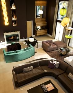 Sectional Sofa And Brown Coffee Table Under The Unusual Lamps