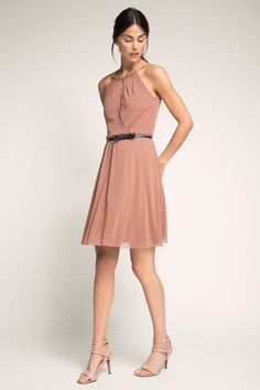 Esprit - Airy mesh dress with a belt at our Online Shop