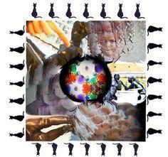 Miriam Garlo.  Sin título, 2013. 33 x 33 cm. Collage sobre madera. Un marco patriarcal, simbolizado a través del gato con siete vidas que custodia un mapa al mismo tiempo que le da la espalda, sirve de frontera para ubicar un centro donde, a modo de conquista, se levanta un alegre tendido: una colorida tela de araña que atrapa y repele, y que ya no se sostiene. Ya se sabe, el gato es gato y araña, y el amor, todo un concepto a reinventar; pero ahora sin espejismos que valgan.