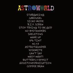 ASTROWORLD TRACKLIST WE LIVE. I'm staying cautiously optimistic tho I don't wanna be too disappointed just in case but I got a feeling Travis will pull through for us. Straight up Travis Scott Tumblr, Travis Scott Lyrics, Travis Scott Quotes, Drake Travis Scott, Travis Scott Album, Travis Scott Kylie Jenner, Travis Scott Iphone Wallpaper, Retro Vintage, Backgrounds
