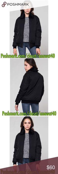 """Aspen Faux Fur Black Bomber Aspen Faux Fur Black Bomber A luxe mixed-material bomber jacket, featuring front zipper closure, slanted zipper pockets, and faux fur collar . Long sleeves.  * 100% polyester * Hand wash cold * Model is in size S * Model is 5'10"""", 33"""" bust, 24"""" waist, 34.5"""" hips * Made in USA Jackets & Coats"""