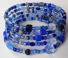 New jewelry - unique, handmade bead memory wire bracelet! Blue Mix Memory Wire Bracelet by VineDesignBeads on Etsy, $18.00