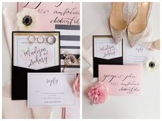 wedding stationery in pink, black and white -- such pretty, feminine details / photo by The Cannons Photography